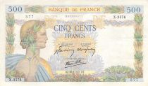 France 500 Francs Pax with wreath - 28-08-1941 Serial X.3576 - VF