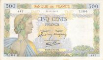 France 500 Francs Pax with wreath - 28-08-1941 Serial X.3596 - VF