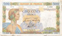 France 500 Francs Pax with wreath - 28-08-1941 Serial Y.3562 - F
