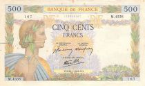 France 500 Francs Pax with wreath - 29-01-1942 Serial M.4556 - F