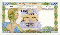 France 500 Francs Pax with wreath - 30-04-1941 - Serial K.2752 - VF