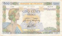France 500 Francs Pax with wreath - 30-04-1941 Serial D.2710 - F to VF