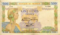 France 500 Francs Pax with wreath - 31-10-1940 - Serial B.1268-558 - F