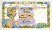 France 500 Francs Pax with wreath - 31-10-1940 - Serial H.1293 - VF