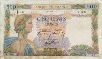 France 500 Francs Pax with wreath - 31-10-1940 - Serial Z.1296 - G