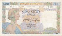 France 500 Francs Pax with wreath - 31-10-1940 Serial X.1214 - F+