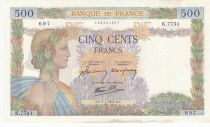 France 500 Francs Peace - 07-01-1943 - Serial K.7734 2nd