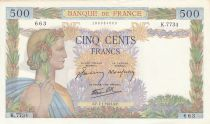 France 500 Francs Peace - 07-01-1943 - Serial K.7734