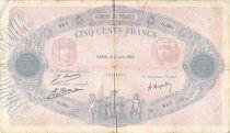 France 500 Francs Pink and Blue - 02-06-1922 Serial G.661 - G+