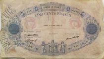 France 500 Francs Pink and Blue - 14-05-1936 Serial G.2287 - VG to F