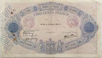France 500 Francs Pink and Blue - 19-01-1939 Serial Z.3181 - F