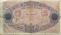 France 500 Francs Pink and Blue - 19-07-1917 Serial C.468 - VG to F