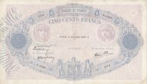 France 500 Francs Pink and blue - 20-07-1939 Serial H.3498 - VF