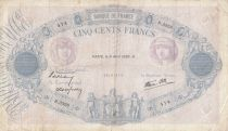 France 500 Francs Rose et Bleu - 06-04-1939 Série R.3328