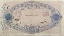 France 500 Francs Rose et Bleu - 19-01-1939 Série Z.3181 - TB