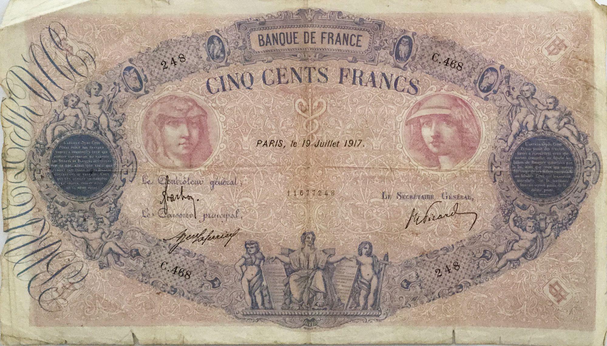 France 500 Francs Rose et Bleu - 19-07-1917 Série C.468 - PTB