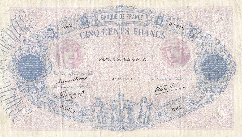 France 500 Francs Rose et Bleu - 26-08-1937 Série D.2679 - TTB