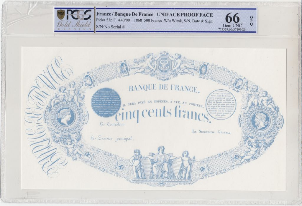 France 500 Francs Uniface Proof  - 1863 (1868) - PCGS 66 OPQ