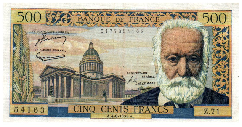 France 500 Francs Victor Hugo - 04-08-1955 - Série Z.71 - TTB