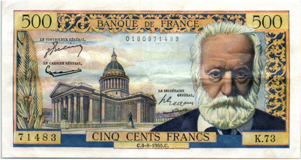 France 500 Francs Victor Hugo - 04-08-1955 Serial K.73
