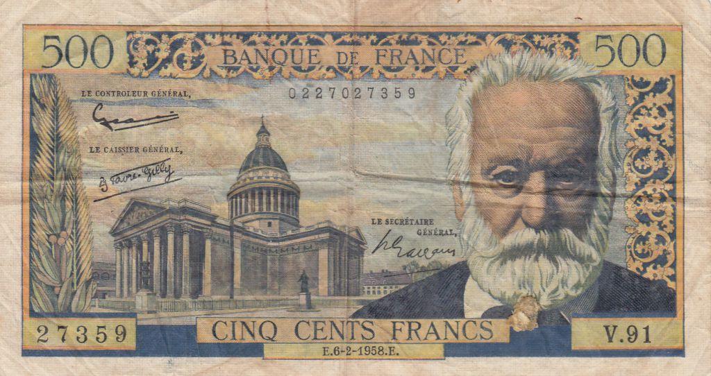 France 500 Francs Victor Hugo - 06-02-1958 - Série V.91 - TB +