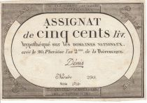 France 500 Livres 20 Pluviose An II - 8.2.1794 - Sign. Denis
