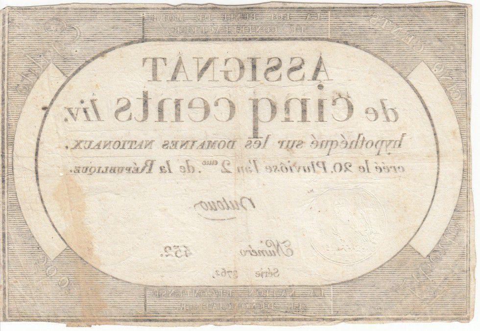 France 500 Livres 20 Pluviose An II - 8.2.1794 - Sign. Dutour