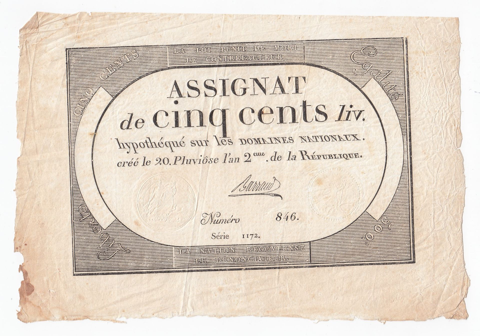 France 500 Livres 20 Pluviose An II (8.2.1794) - Sign. Barraud