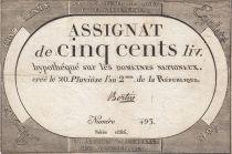 France 500 Livres 20 Pluviose An II (8.2.1794) - Sign. Bertin