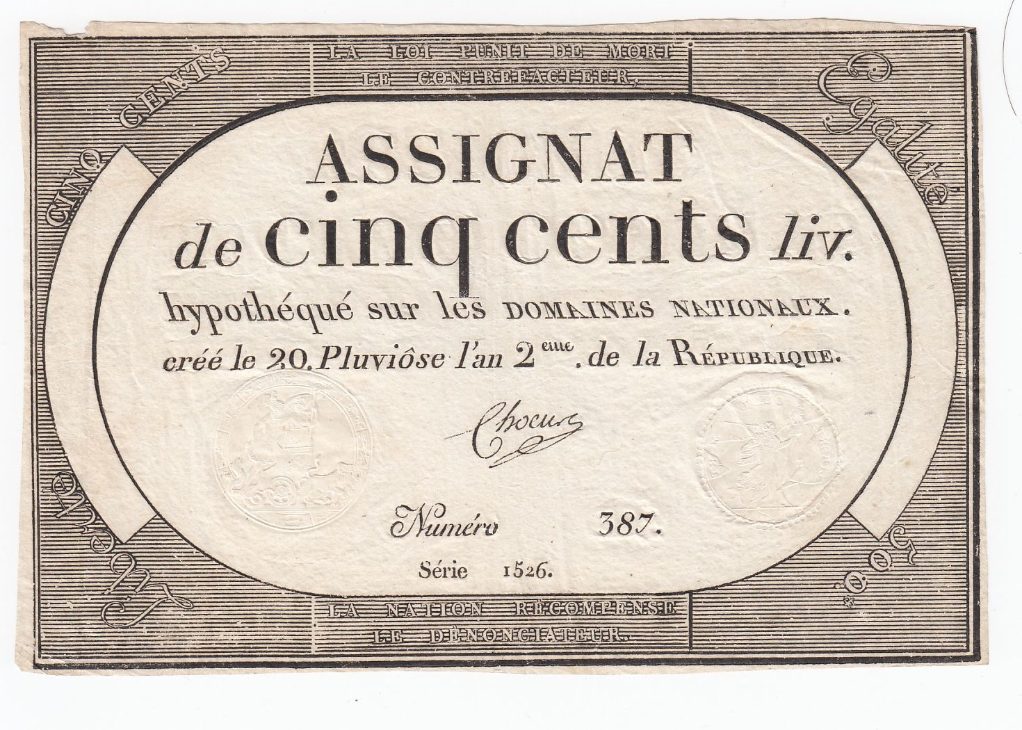 France 500 Livres 20 Pluviose An II (8.2.1794) - Sign. Chocus
