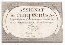 France 500 Livres 20 Pluviose An II (8.2.1794) - Sign. Coupé