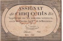 France 500 Livres 20 Pluviose An II (8.2.1794) - Sign. Crosnier