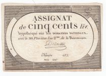 France 500 Livres 20 Pluviose An II (8.2.1794) - Sign. Delaistre