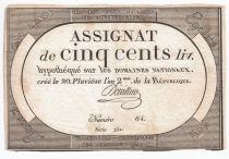 France 500 Livres 20 Pluviose An II (8.2.1794) - Sign. Doivillier