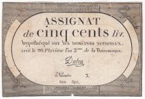 France 500 Livres 20 Pluviose An II (8.2.1794) - Sign. Duboc