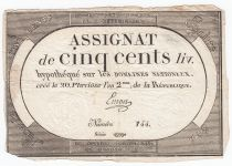 France 500 Livres 20 Pluviose An II (8.2.1794) - Sign. Emon