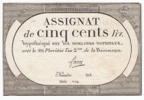 France 500 Livres 20 Pluviose An II (8.2.1794) - Sign. Faure