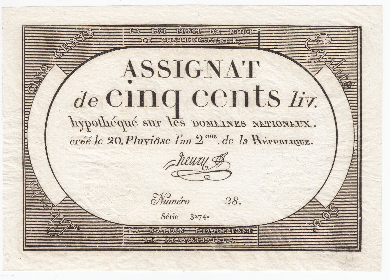 France 500 Livres 20 Pluviose An II (8.2.1794) - Sign. Henry