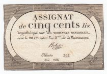 France 500 Livres 20 Pluviose An II (8.2.1794) - Sign. Hubert
