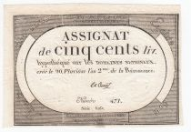 France 500 Livres 20 Pluviose An II (8.2.1794) - Sign. Le Court