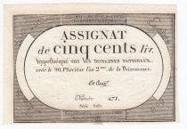 France 500 Livres 20 Pluviose An II (8.2.1794) - Sign. Le Court