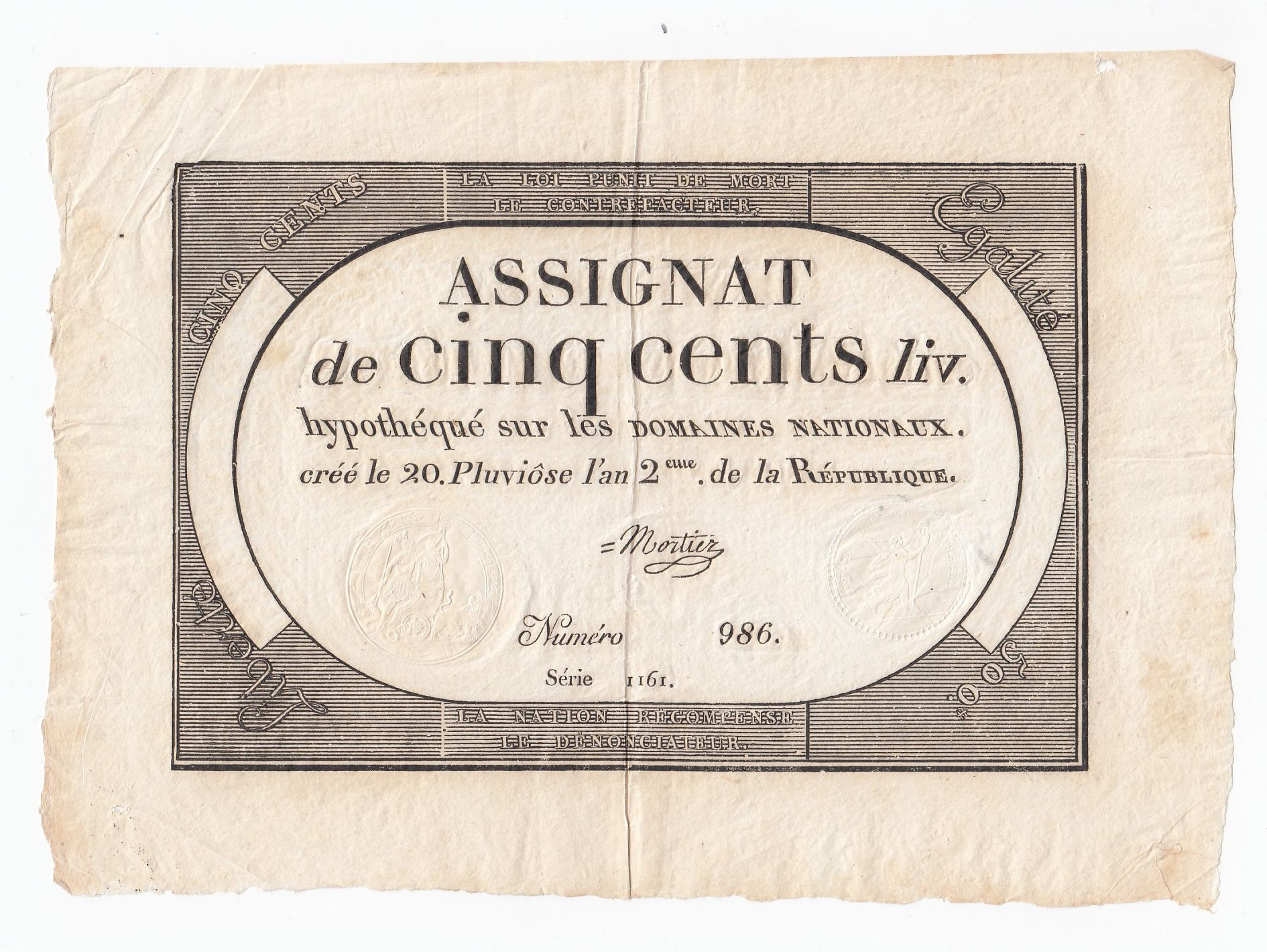 France 500 Livres 20 Pluviose An II (8.2.1794) - Sign. Mortier