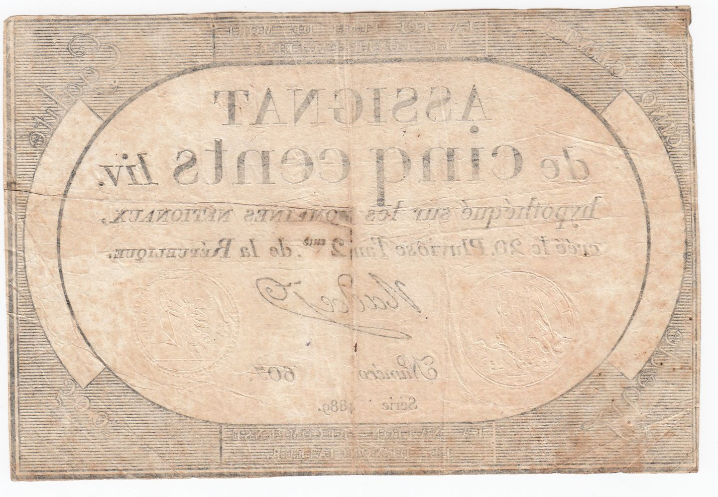 France 500 Livres 20 Pluviose An II (8.2.1794) - Sign. Nadal