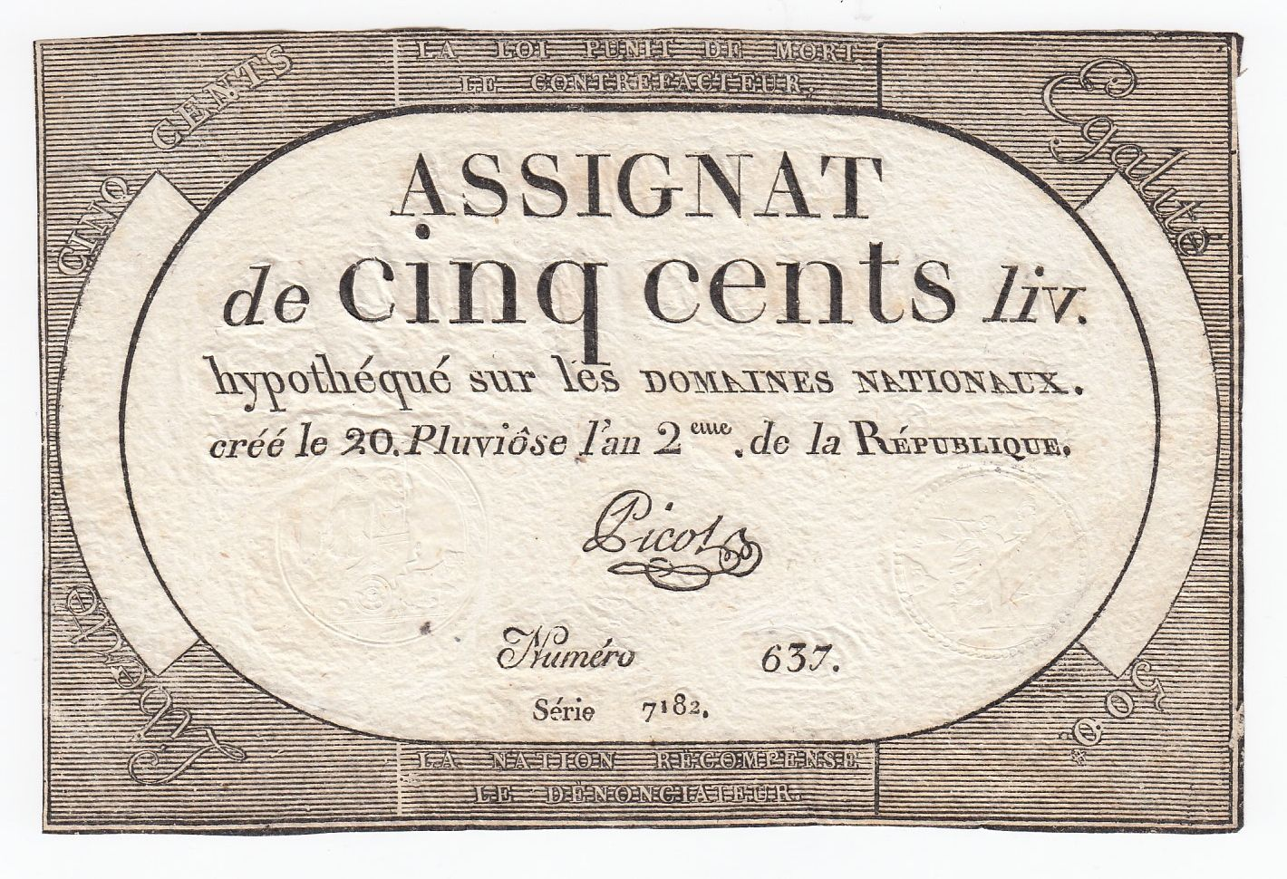 France 500 Livres 20 Pluviose An II (8.2.1794) - Sign. Picot