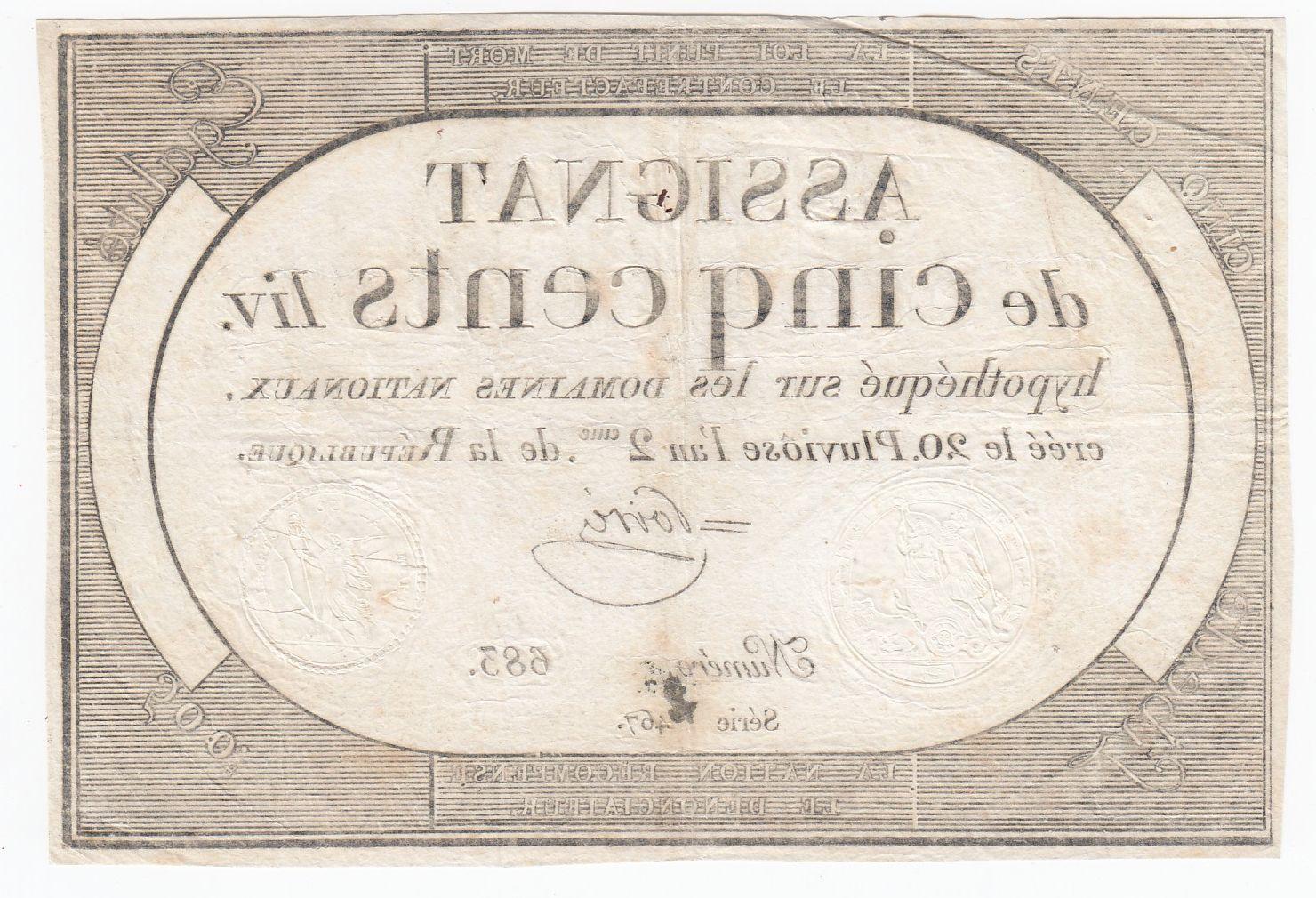 France 500 Livres 20 Pluviose An II (8.2.1794) - Sign. Poiré