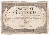 France 500 Livres 20 Pluviose An II (8.2.1794) - Sign. Pougin