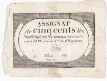 France 500 Livres 20 Pluviose An II (8.2.1794) - Sign. Preux