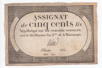 France 500 Livres 20 Pluviose An II (8.2.1794) - Sign. Ribou