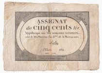 France 500 Livres 20 Pluviose An II (8.2.1794) - Sign. Rolin