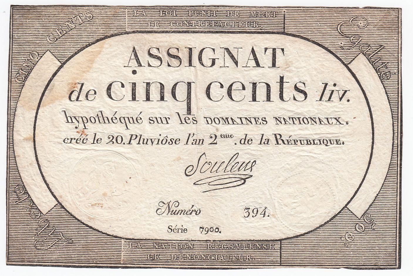 France 500 Livres 20 Pluviose An II (8.2.1794) - Sign. Souleux